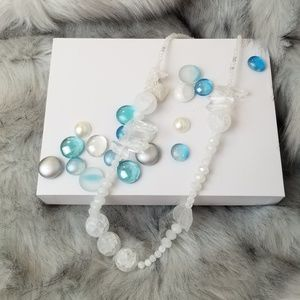 Jewelry - Handmade stone and glass beaded statement necklace
